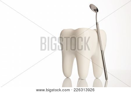 Tooth Model And Dental Mirror. Ceramic Tooth And Dentist Equipment, Steel Dental Mirror Tool Isolate