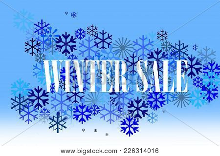 Blue,grey And White Concept With Snowflakes For Leaflet With White Inscription Winter Sale.winter Sa