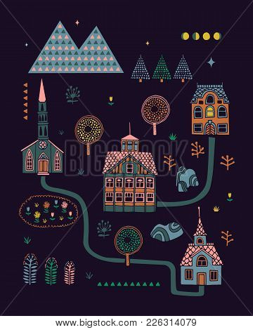 Illustrated Poster In Scandinavian Style With Images Of Houses And Nature. Can Be Used As Printing O