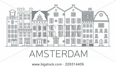 Banner Of Amsterdam City In Flat Line Style. Amsterdam Line Art. European Old Town. Dutch City Lands