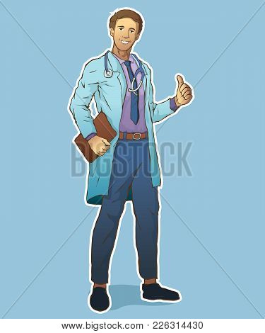 Vector Character Young Professional Doctor With Stethoscope. Smiling Doctor