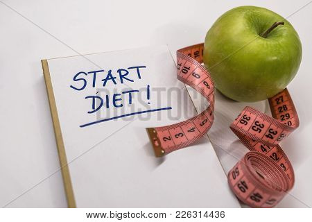 The Notepad With Diet Plan List Text. Diet Plan Healthy Eating, Dieting, Slimming And Weigh Loss Con
