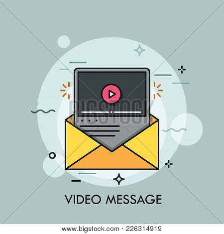Online Player Window Inside Yellow Envelope. Concept Of Video Message Or File Receiving And Sending,