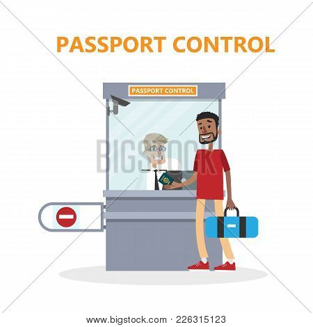Airport Passport Control With Passanger And Officer.
