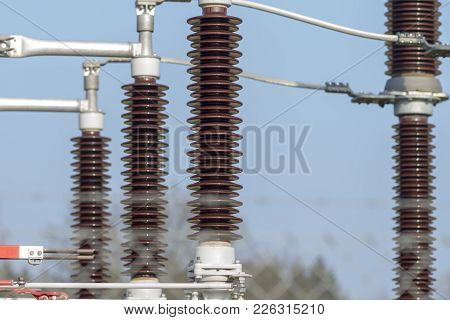 Substation with power lines and insulators in Germany