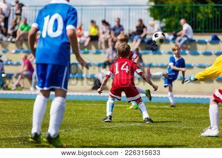 Running Soccer Football Players. Soccer Kick; School Football Game. Footballers Kicking Football Mat
