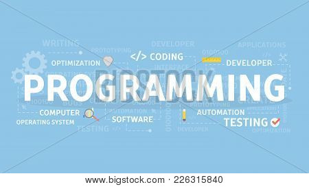 Programming Concept Illustration. Idea Of Coding And Software.