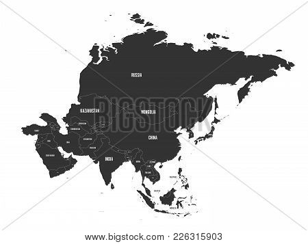 Political Map Of Asia In Grey Color. Vector Illustration