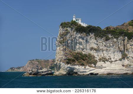 Lighthouse At Capo Miseno, Gulf Of Naples, Italy.