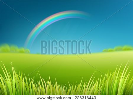 Summer Meadow Field With Rainbow After Rain. Nature Background With Green Grass Landscape, Trees, Da