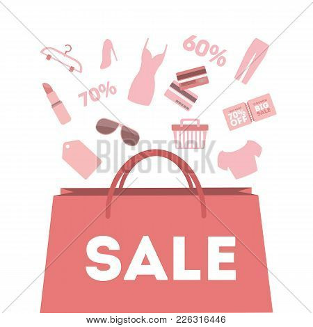 Sale Bag With Items And Discount On White.