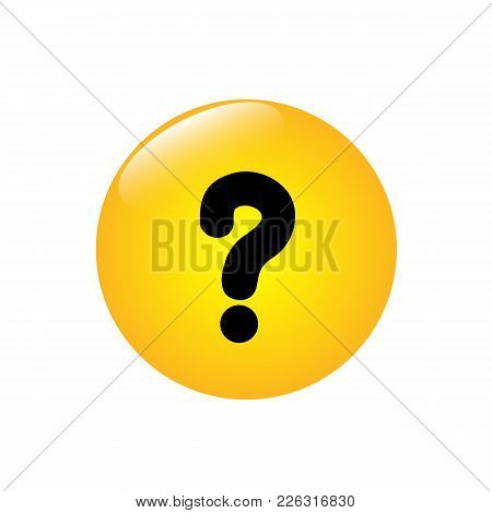 Question Mark On The Yellow Button. Vector Illustration