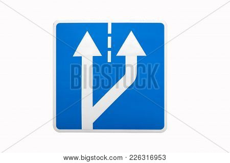 'beginning Of Additional Lane' Square Blue Road Sign Isolated On White