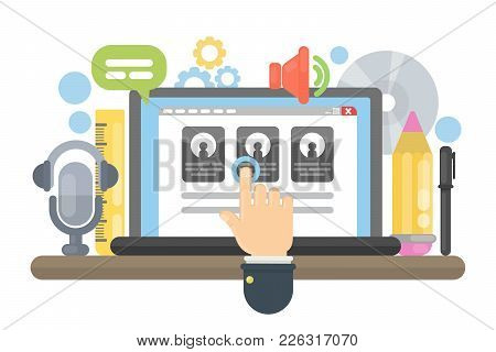 Web Site Building. Hand Pushing On The Screen.
