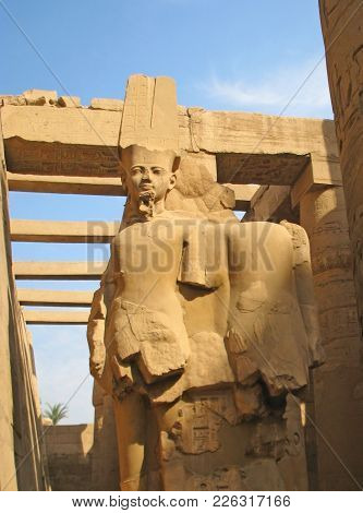 Statues Of The Pharaohs In The Complex Of The Ancient Egyptian Temple In The City Of Luxor. Impressi