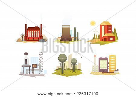 Different Industrial Factory Buildings And Plants. Industrial City Construction Set Vector Illustrat
