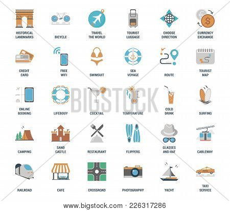 Vector Set Of Leisure And Tourism Flat Web Icons. Each Icon Neatly Designed On Pixel Perfect 48x48 S