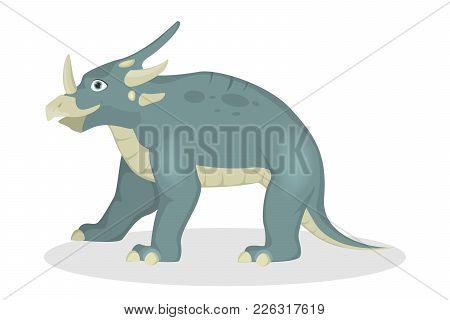 Styracosaurus Dinosaur Isolated Ancient Creature On White.