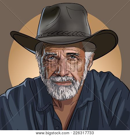 An old wise cowboy in a hat. Vector. Illustration