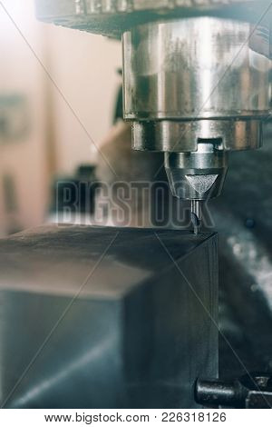 Metal Drilling Closeup. Metal Workshop. Metal Workshop.