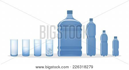Water Bottle And Glasses. Objects For Liguids.