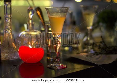 Cocktail And Candle, Romantic Evening, Candles And Lighs