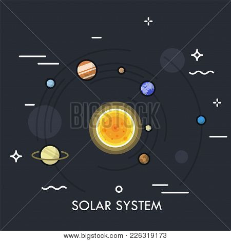 Planets Orbiting Sun. Concept Of Solar Or Planetary System. Gravitationally Bound Celestial Bodies I