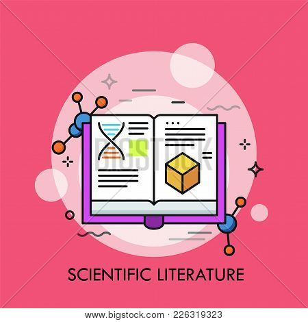Opened Book And Molecular Structures. Concept Of Scientific Literature, Studies And Data, Scholarly