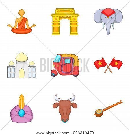 Oriental Trip Icons Set. Cartoon Set Of 9 Oriental Trip Vector Icons For Web Isolated On White Backg