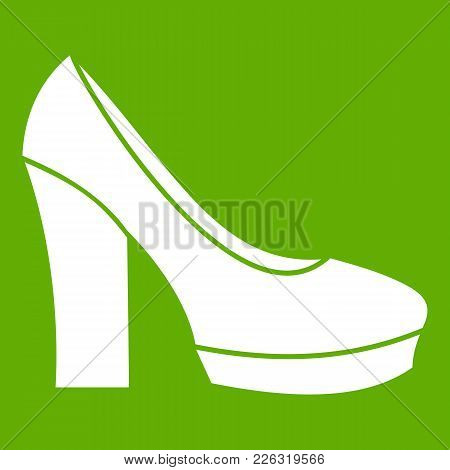 High Heel Shoes Icon White Isolated On Green Background. Vector Illustration