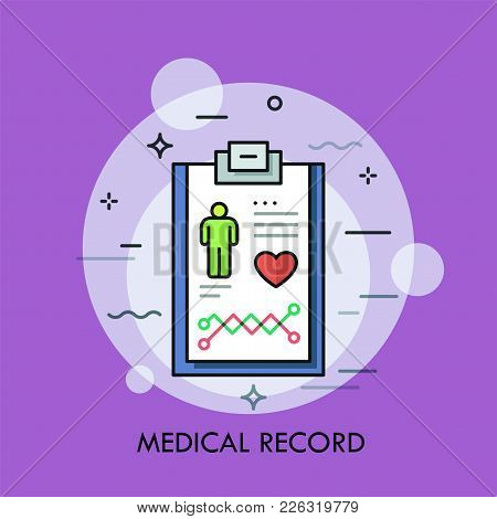 Tablet Or Writing Pad With Patient Diagnosis Details On It. Concept Of Medical Record, Monitoring An