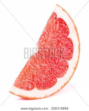 Grapefruit Fruit Slice Isolated On The White Background With Clipping Path. One Of The Best Isolated