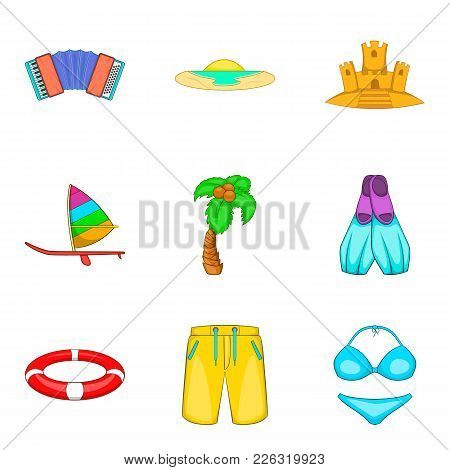 Beach Trip Icons Set. Cartoon Set Of 9 Beach Trip Vector Icons For Web Isolated On White Background