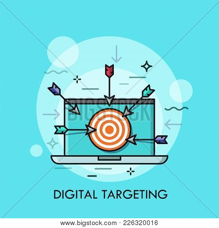 Laptop With Shooting Target With Arrows On Screen. Concept Of Digital Targeting, Online Marketing St