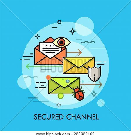 Envelopes Surrounded By Eye, Shield Symbol, Insect And Arrow. Concept Of Secured Communication Chann
