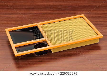 Air Filter For Car On The Wooden Table. 3d Rendering