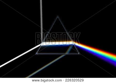 Rainbow Light Prism. Optical Glass Pyramid With Visible Spectrum Wave Rays Vector Illustration, 3d R