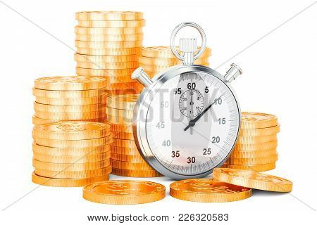 Stack Of Golden Coins With Stopwatch, 3d Rendering Isolated On White Background