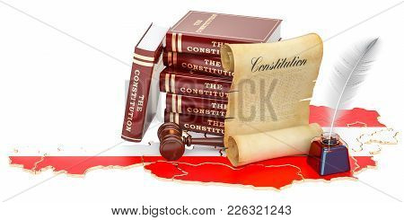 Constitution Of Austria Concept, 3d Rendering Isolated On White Background