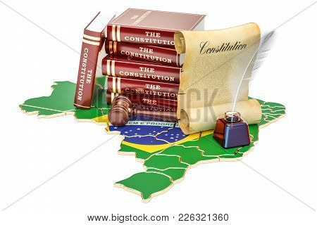 Constitution Of Brazil Concept, 3d Rendering Isolated On White Background