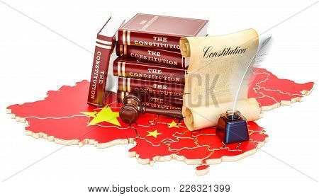 Constitution Of China Concept, 3d Rendering Isolated On White Background