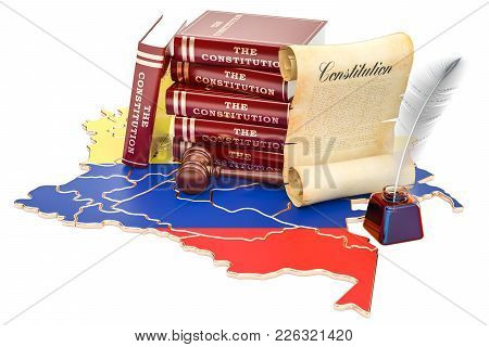 Constitution Of Colombia Concept, 3d Rendering Isolated On White Background