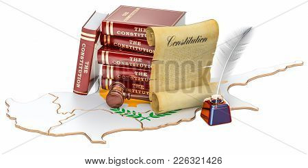Constitution Of Cyprus Concept, 3d Rendering Isolated On White Background