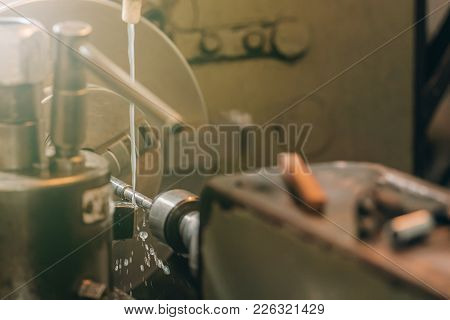 Metal Lathe, Lathe Machine Metalworking In Workshop