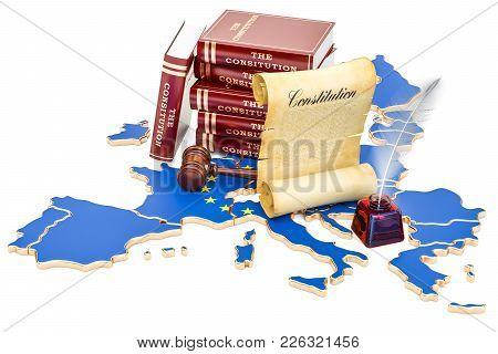 Constitution Of European Union Concept, 3d Rendering