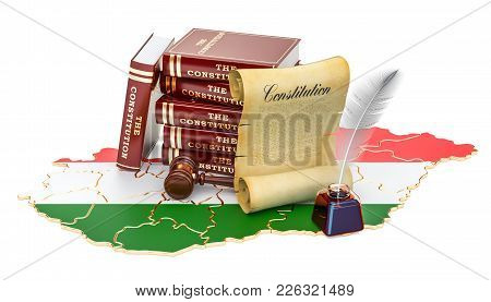 Constitution Of Hungary Concept, 3d Rendering Isolated On White Background
