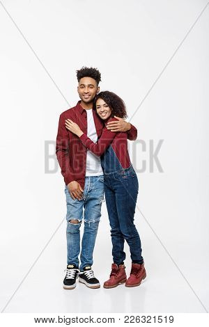 Full Body Portrait Of Young African American Hugging Couple, With Smile. Dating, Flirting, Lovers, R