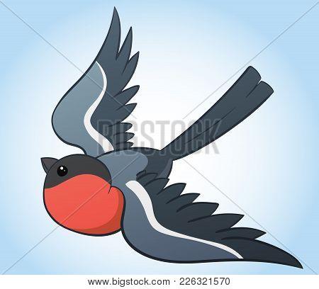 Flying Bullfinch, Simple Hand Drawn Vector Illustration