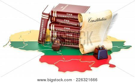 Constitution Of Lithuania Concept, 3d Rendering Isolated On White Background