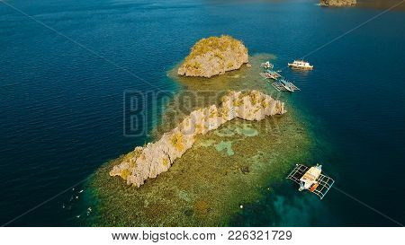 Aerial View: Beach, Tropical Island, Sea Bay And Lagoon, Palawan. Lagoon With Blue, Azure Water In T